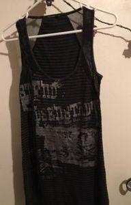 Salvage Dresses - Salvage Brand Black and Brown Striped Tank Dress